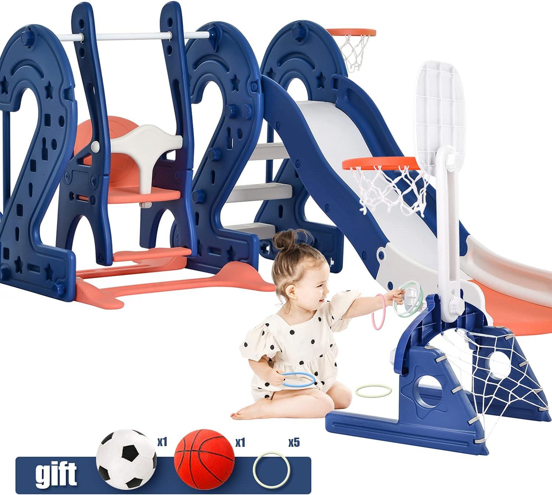 Toddler Slide and Swing Set 6 in 1 Kids Climber Slide Playset wi
