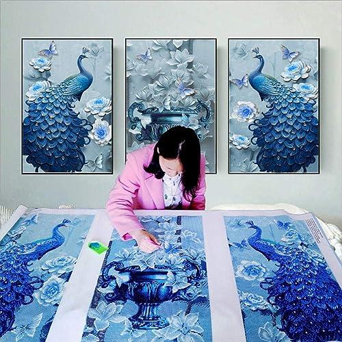 contador genuino Ptouji Diamond Painting 5D DIY Full Diamond Peacock Three Three Three Pintura Punto Artesanía Hecha A Mano 60  90 Cm  3  tienda en linea
