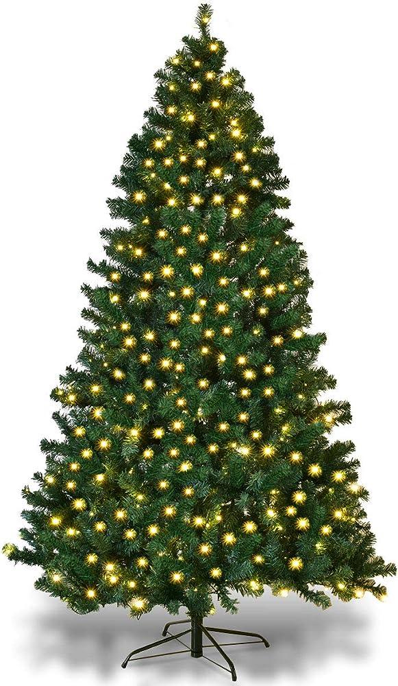 Goplus albero di natale verde automatico con luci led pvc supporto in metallo 210-240cm