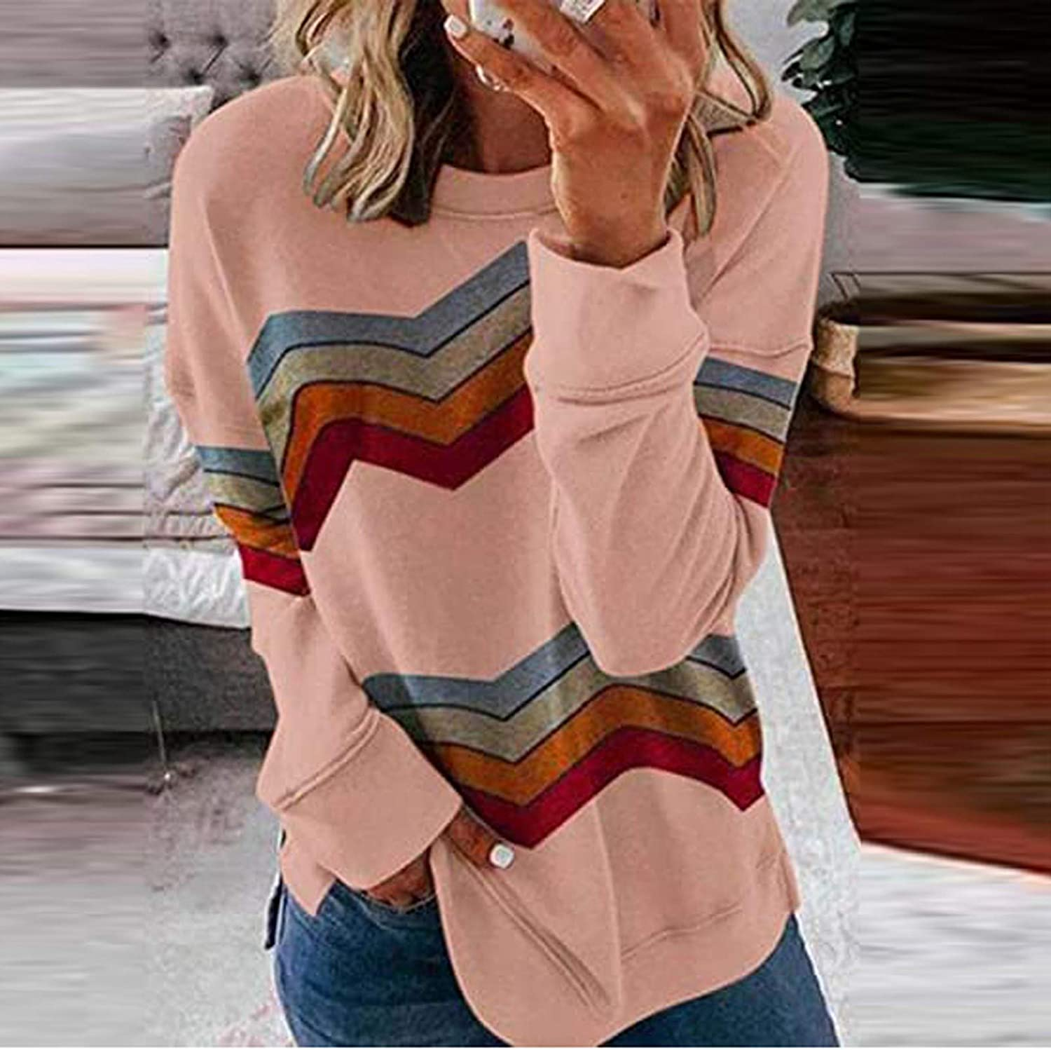 Masbird Fall Clothes for Women, Womens Casual Long Sleeve Crewneck Sweatshirts Striped Pullover Tops Loose Tunic Tops