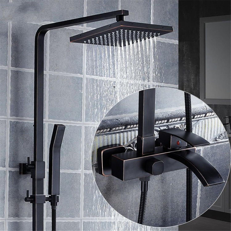 NewBorn Faucet Küche oder Badezimmer Waschbecken Mischbatterie Schwarzer Regen Wasser in der Dusche Verpackt Booster-Style voll Kupfer hngende Wand Antike Viertüriges Dusche Dusche Suite B Tippen