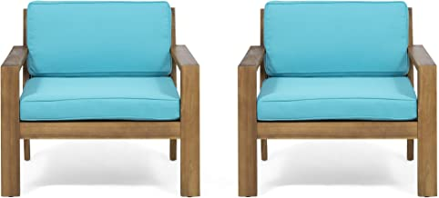 Great Deal Furniture Afra Outdoor Acacia Wood Club Chairs with Cushions (Set of 2), Teak and Teal