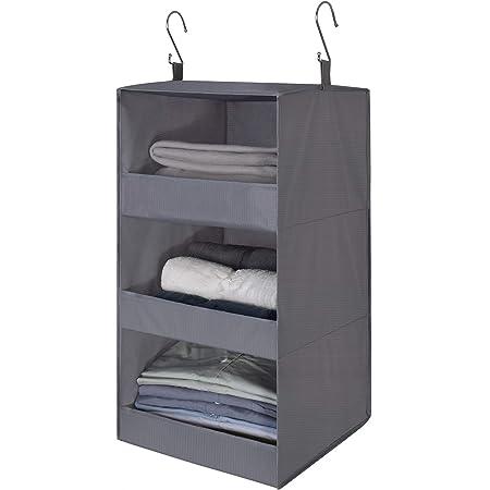 "GRANNY SAYS 3-Shelf Hanging Closet Organizer, Collapsible Hanging Closet Shelves, Hanging Organizer for Closet & RV, Gray, 28.9"" H X 12.2"" W X 12.2"" D, 1-Pack"
