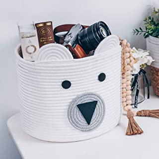 Bear Basket, Cotton Rope Basket, Woven Laundry Hamper, Toy Storage Bin for Kids, Clothes in Bedroom, Baby Nursery & Living...