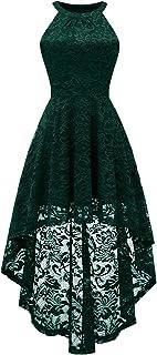 BeryLove Damen Vokuhila Cocktail Kleid Elegant Halter Spitzenkleid Brautjungfern Blumenmuster