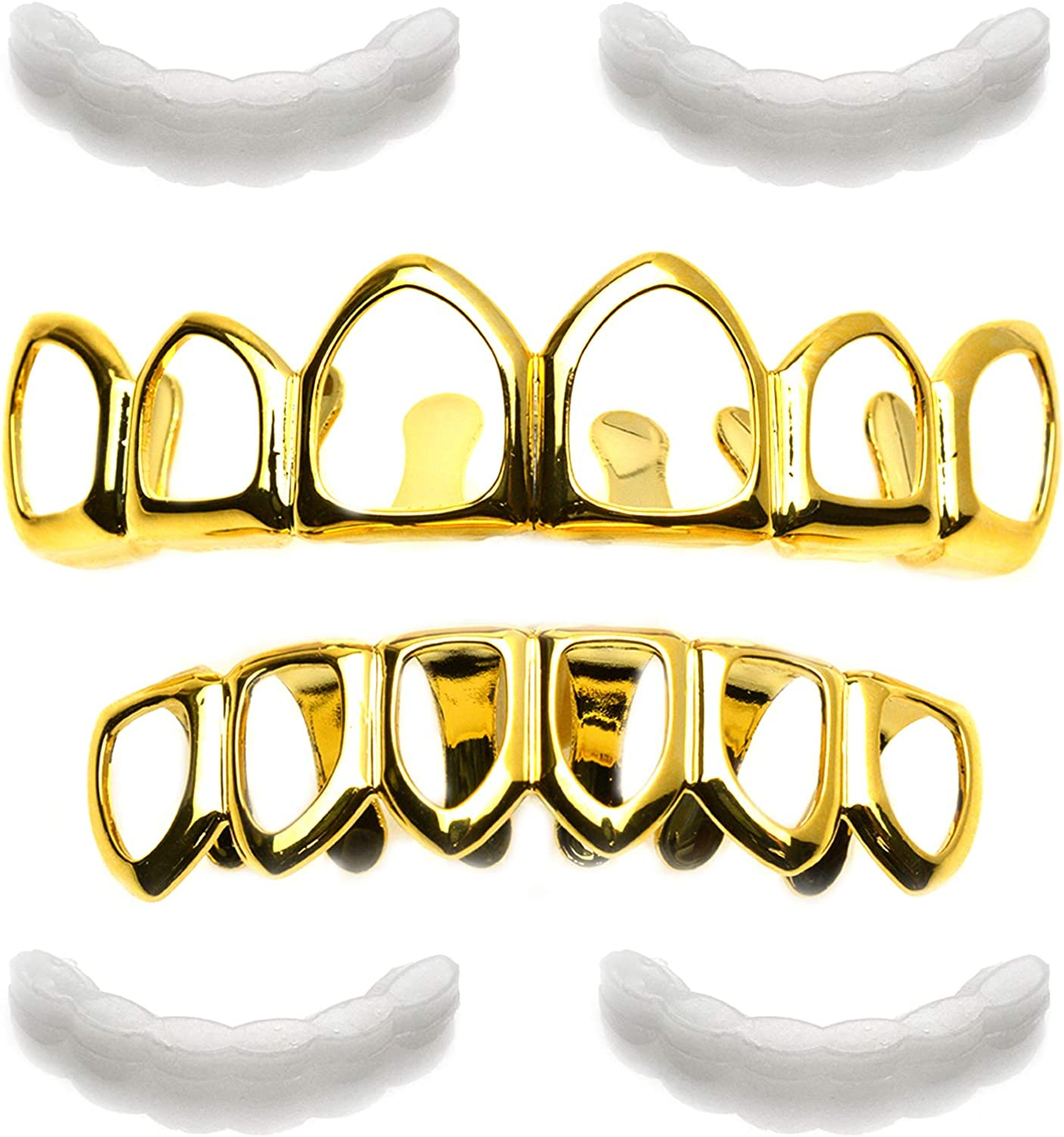 metaltree98 Grillz Solid Plain Six Open Face 14K Gold Plated Teeth Top & Bottom LS 001 6F G