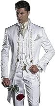 Mens Embroidery White Mandarin Lapel Tail Tuxedos Wedding/Prom Best Man Blazer 3 Pieces Men Suits