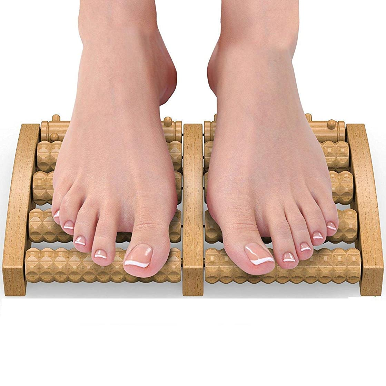 分離思慮のない寄付足のマッサージトマッサージャーフットマッサージローラー木製ホイール、足底筋膜炎ストレスヒールアーチ痛み指圧指圧緩和、2個を和らげる