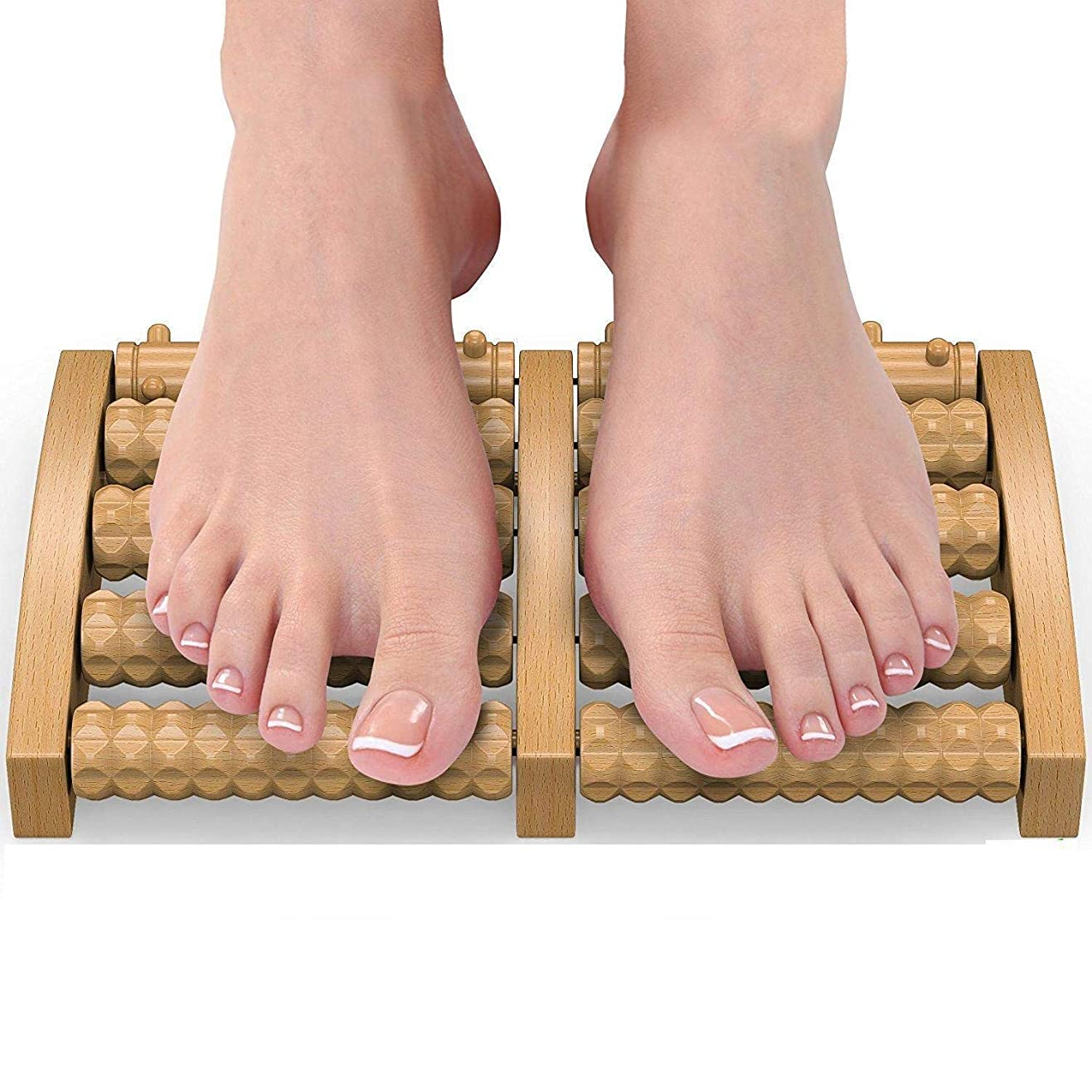 最少ほかに画像足のマッサージトマッサージャーフットマッサージローラー木製ホイール、足底筋膜炎ストレスヒールアーチ痛み指圧指圧緩和、2個を和らげる