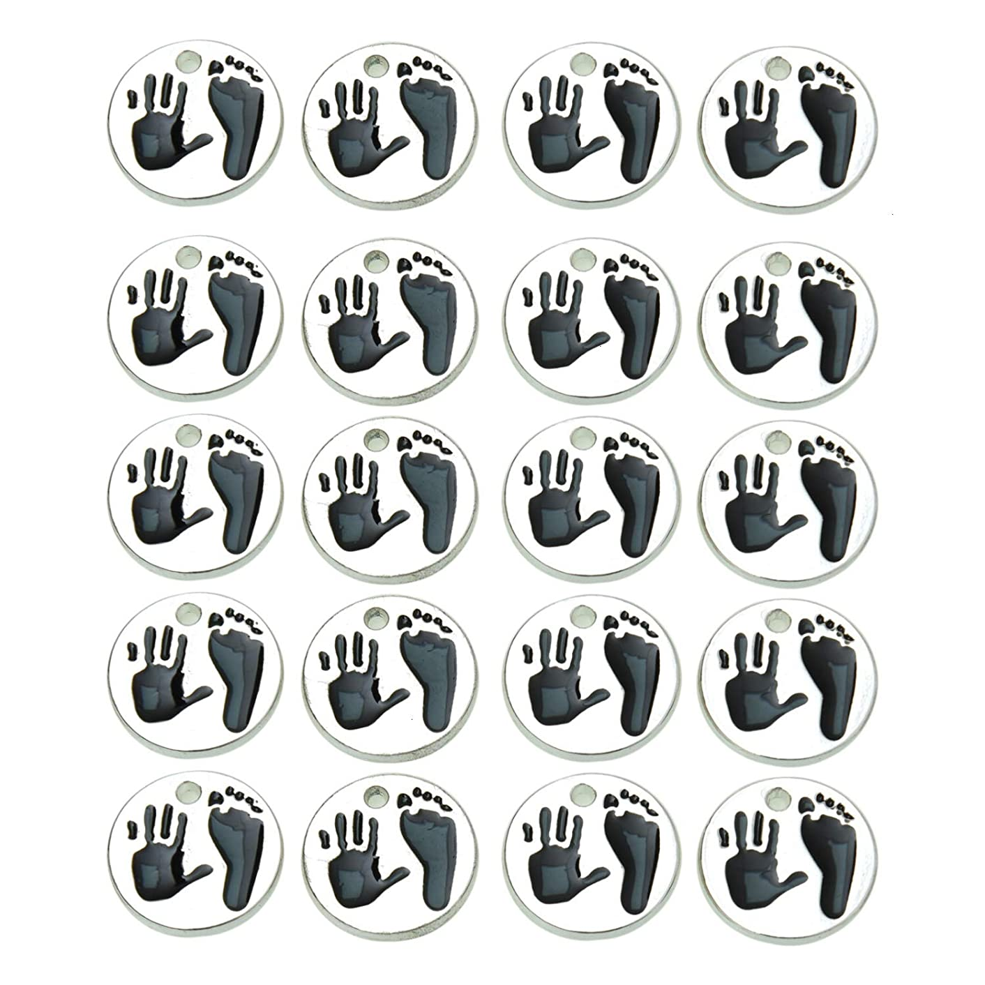 Monrocco 20 Pack Antique Silver Round Handprint Foorprint Charms Pendant for Bracelets Jewelry Making