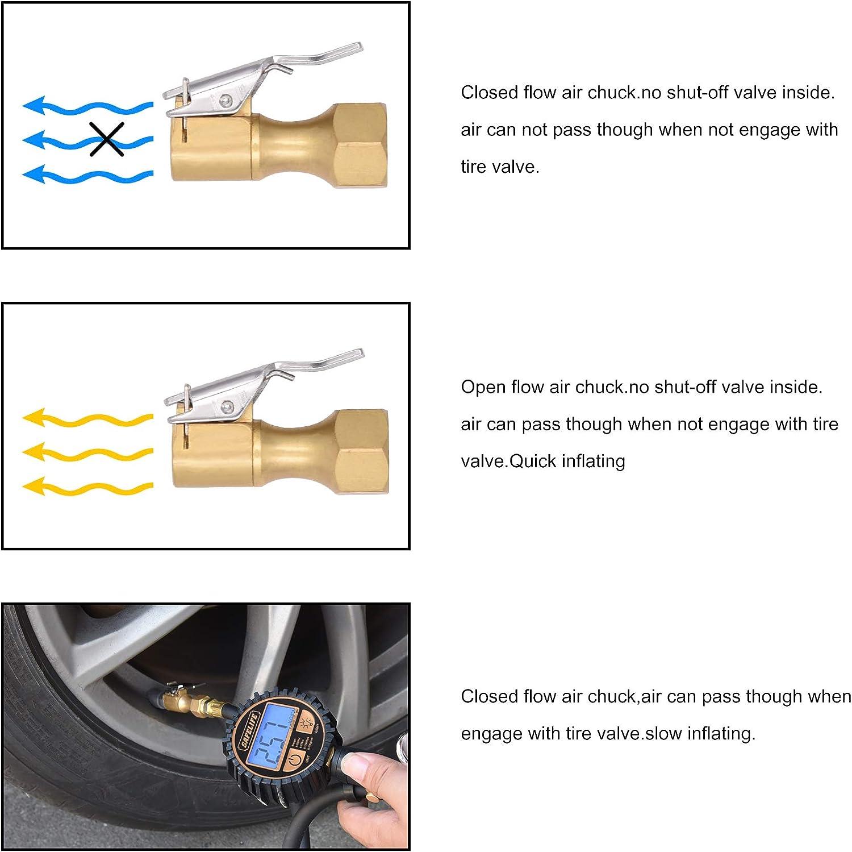 SAFELIFE Brass Air Chuck Open Flow Tire Chuck Heavy Duty Lock on Tire Inflator Chuck with Clip