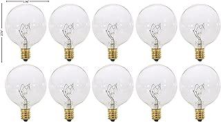 (Pack of 10) G16.5 Decorative (E12) Candelabra Base Globe Shape 120V G16 1/2 Light Bulbs (Clear, 15 Watt)