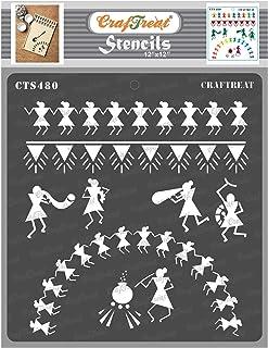 Craftreat Warli Art Stencils for Craft - Warli - 12X12 Inches - Reusable DIY Stencils for Painting on Canvas - Warli Stenc...