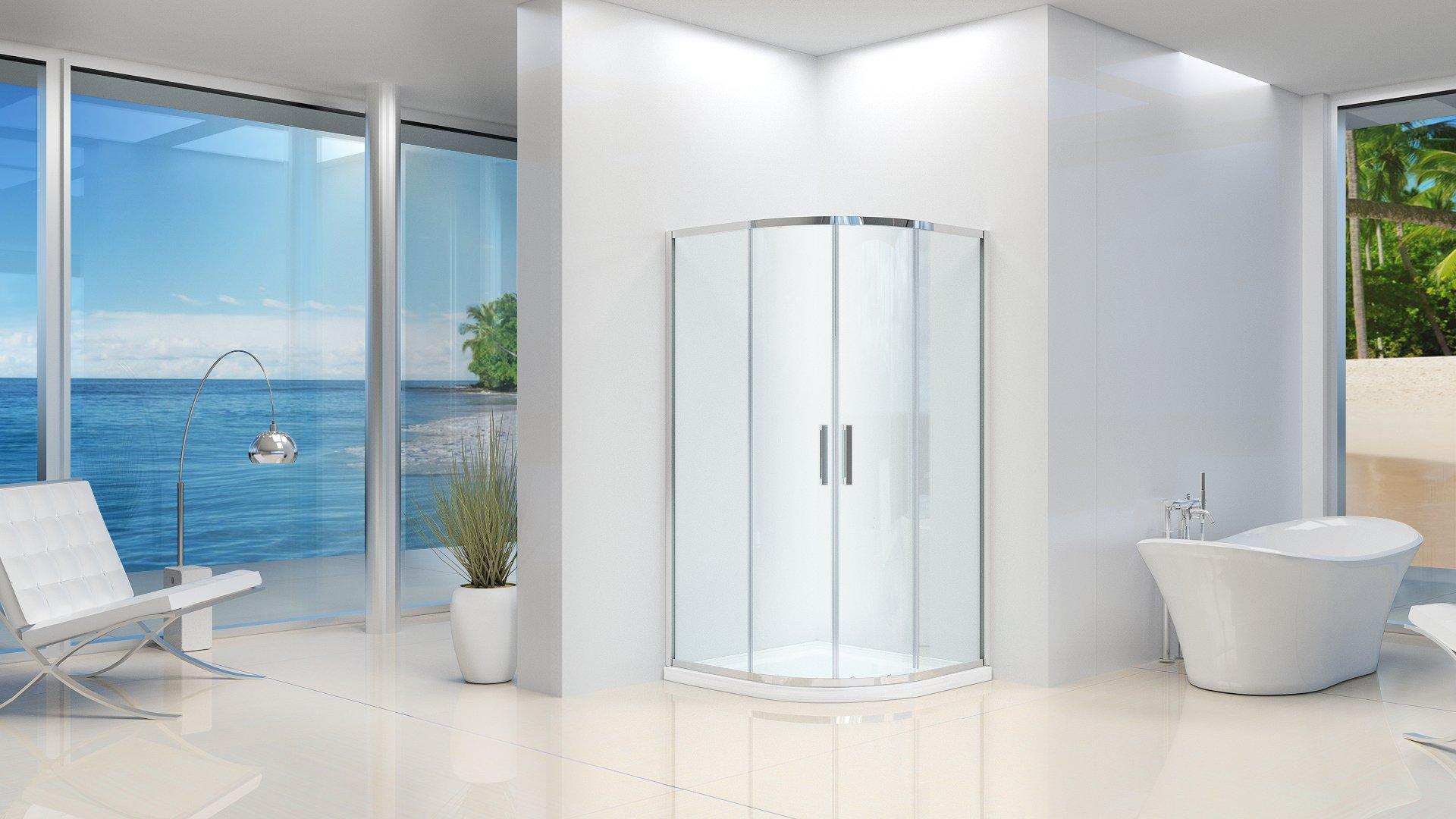 Box ducha semicircular mate con puertas correderas 6 mm 90 x 90 ...