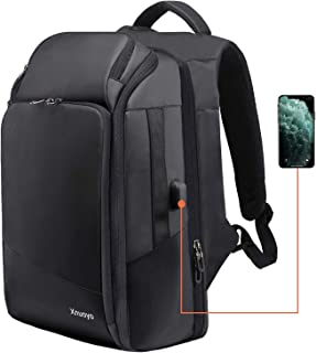 Xnuoyo TSA Friendly Laptop Backpack 15 6 inch Computer Rucksack  Water-Resistant Large Capacity Durable Double Shoulder Bag with USB Charging Port for Travel Business College Men Women