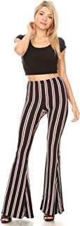Boho Flare Pants, Elastic Waist, Wide Leg Pants for Women, Solid & Printed, Stretchy and Soft