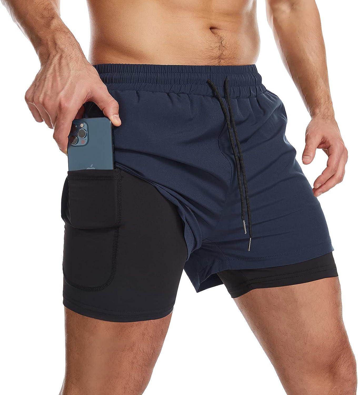 Danfiki Pantalones cortos de running para hombre con bolsillo para teléfono 2 en 1, pantalones cortos de entrenamiento ligeros de secado rápido