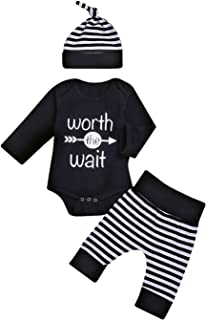 Baby Unisex Worth The Wait Arrow Printed Romper Striped Pant Hat Outfit Clothes