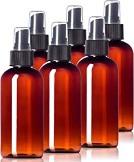 4oz Plastic Amber Bottles (6 Pack) BPA-Free Squeeze Containers with Spray Cap, Labels Included