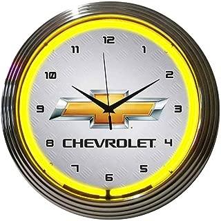 Neonetics Chevrolet Gold Bowtie Yellow Neon Wall Clock, 15 Inch