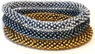 Aid through Trade Roll-on Beaded Bracelet, Set of 3 Metallic Solids