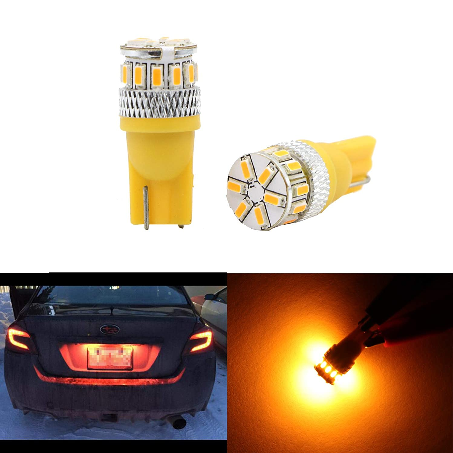 Amber Yellow LED Dome Light Glove Box Trunk Light 194 168 2825 175 192 W5W Bulb T10 Wedge High Power 3014 18 SMD Bulb for License Plate Interior Map Door Dome Side Marker Light