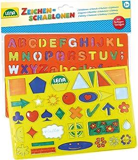 Lena 65774, alfabet med 2 teckenmallar, tecken, set med färgmallar och 2 stenciler med bokstäver, siffror, räknecken och f...