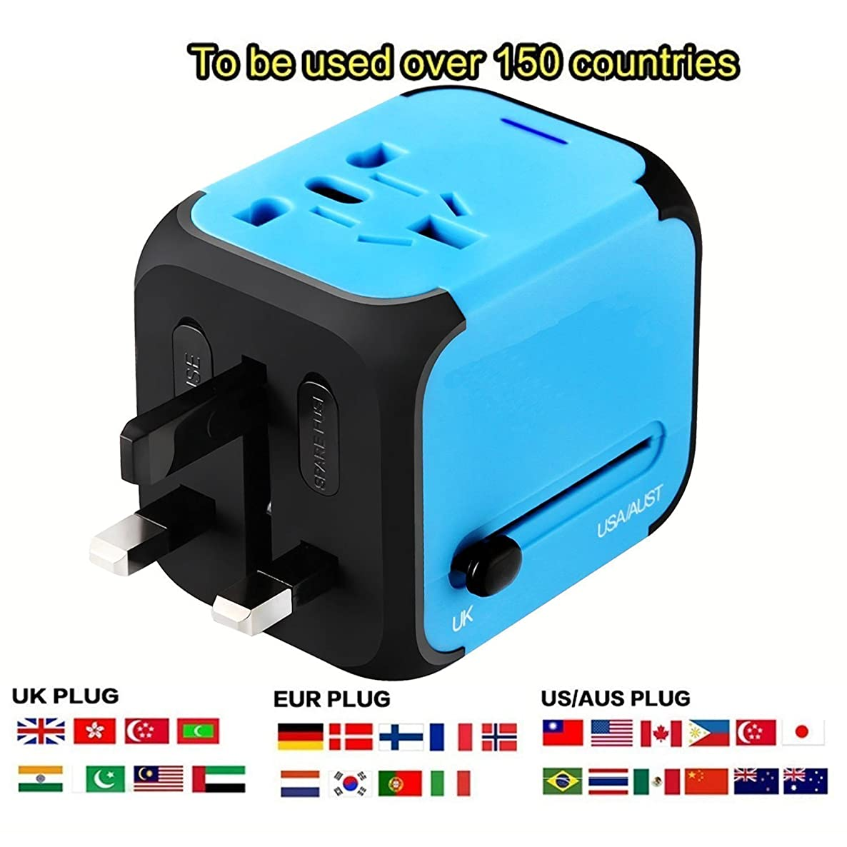 New Universal Travel Adapter Electric Plugs Sockets Converter US/UK/EU/AU with Dual USB Charging 2.4A LED Power Indicator Electric Plugs UK EU US AU International Travel Plug Adaptor Charge