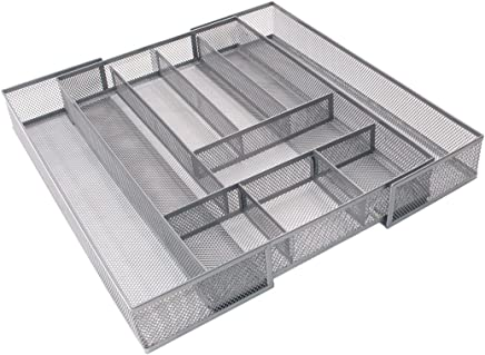 TQVAI Expandable Cutlery Tray Mesh Kitchen Drawer Silverware Organizer Utensils Holder, 8-10 Compartments, Silver