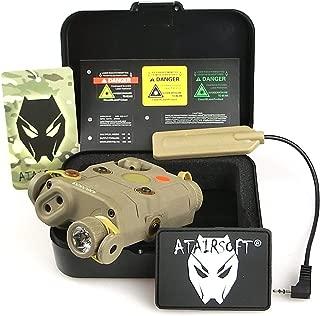 ATAIRSOFT (Airsoft Version AN-PEQ-15 Upgrade Version PEQ-15 Style Battery Box Red Laser Sight + LED Flashlight DE Tan for AEG GBB CQB