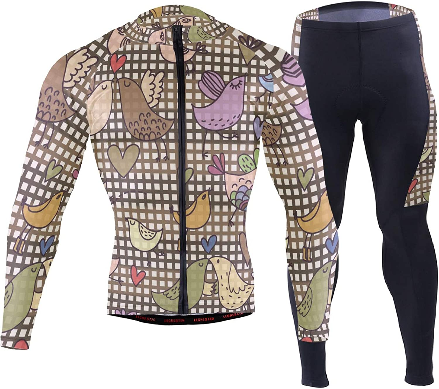 FAJRO colorful Birds Kiss Sportswear Suit Bike Outfit Set Breathable Quick Dry 3D Padded Pants