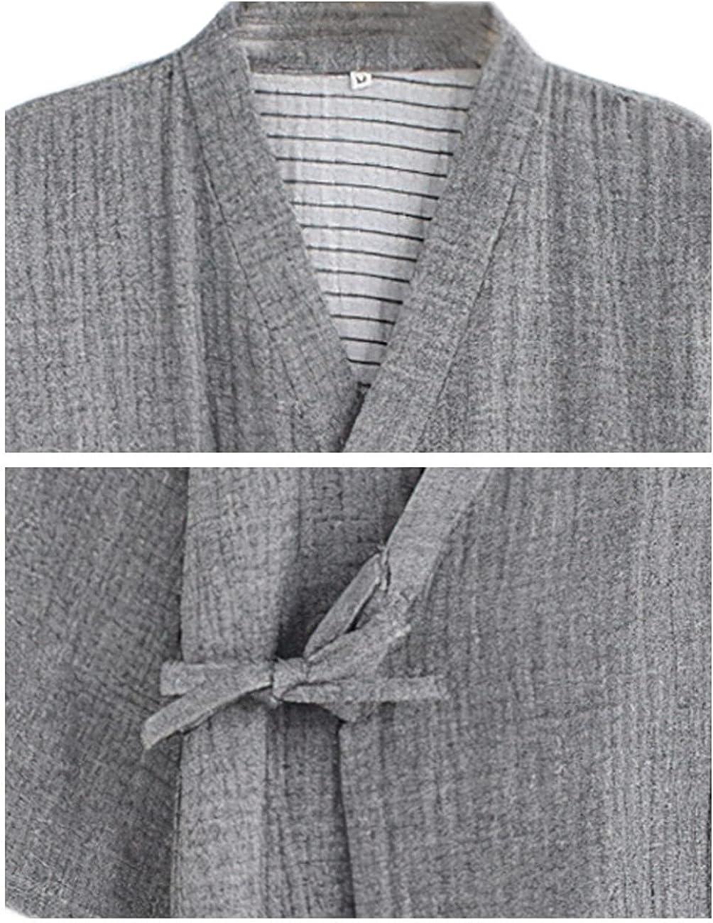 Men's Japanese Kimono Pajama Bathrobe Soft Cotton Lightweight Pajamas Home Wear