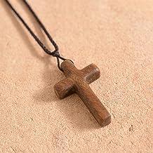 LHQ-HQ Natuurlijke Sandalwood Cross Ketting/Hanger Voor Mannen Dames Katholieke Christus Religieuze Jesus Rozenkrans Siera...