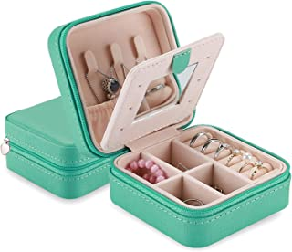 ProCase Small Jewelry Box Organizer, Faux Leather Portable Mini Travel Jewelry Trays Display Storage Case with Mirror for ...