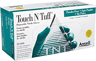 Ansell 92-600-8.5-9 Touch N Tuff Disposable Gloves, Powder Free, Nitrile, 4 mil, Size 8.5 - 9, Green