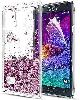 fd944f99874 LeYi Funda Samsung Galaxy Note 4 Silicona Purpurina Carcasa con HD  Protectores de Pantalla,Transparente