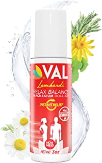 VAL Lombardi Magnesium Roll-On Instant Pain Relief for Arthritis, Backaches, Cramps, Sore Muscles, Sciatica, Joint/Chronic Pain (Relieves Inflammation Fast) Transdermal (Paraben-Free)