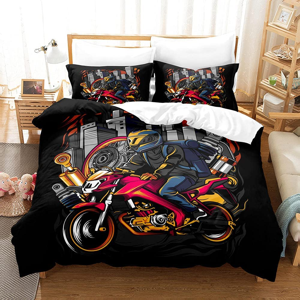 3D Duvet Cover Nippon regular agency Extreme with Quilt Printed Motorcycle Import