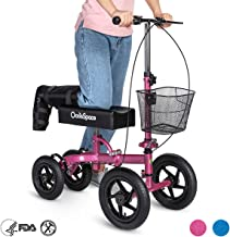 OasisSpace All Terrain Knee Scooter,with 12 inches Air Filled Wheels, Steerable Knee Walker Heavy Duty Crutches for Foot Injuries Ankles Surgery (Pink)