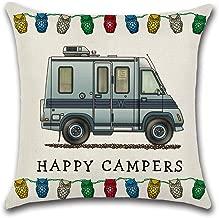 YANGYULU Cute RV Vintage Camper Travel Trailer Cotton Linen Home Decorative Throw Pillow Case Sofa Cushion Cover 18