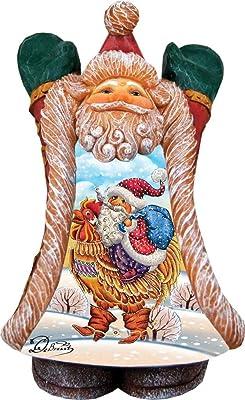 G. Debrekht Rooster Greeting Santa