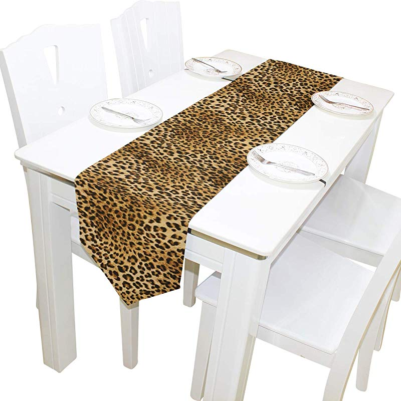 AUUXVA 13x70 Inches Long Table Runner Animal Leopard Skin Print Decorative Polyester Table Runners Tablelcoth For Home Coffee Kitchen Dining Table Party Banquet Holiday Decoration
