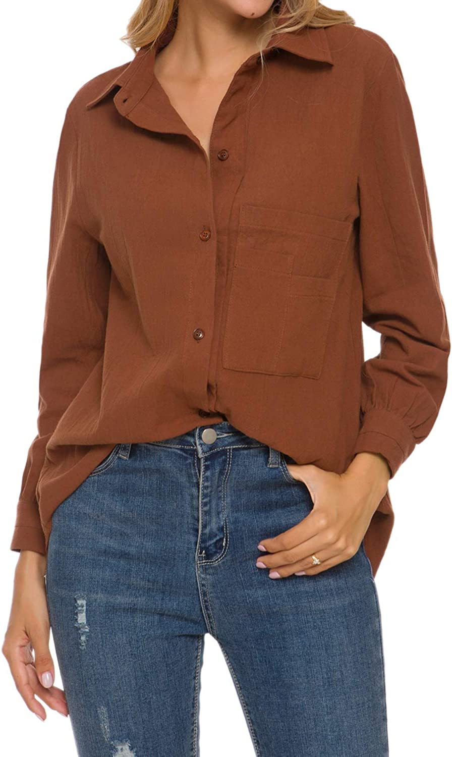 TOP-MAX Button Down Shirts for Women, Casual Cotton Linen Blouse High Low Shirt Long Sleeve Tops with Pockets