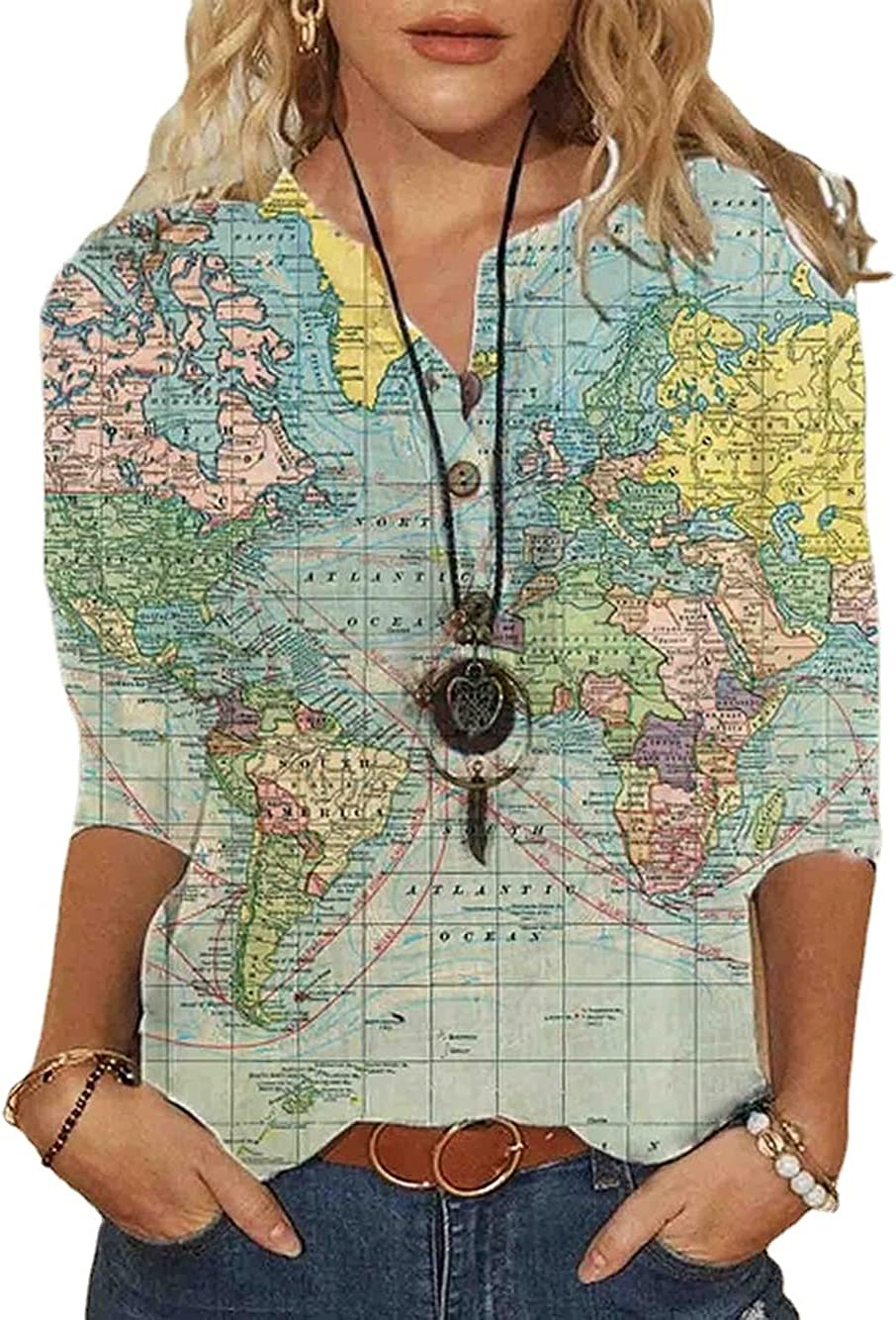 HOLATOK Women's World Map Geometric Pattern Lapel Casual 3/4 Sleeve Button Down Shirt Summer Loose Top Blouse