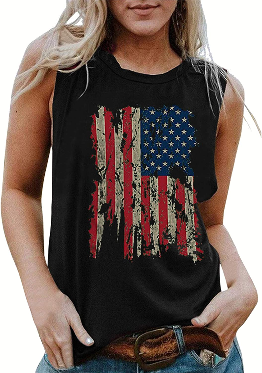 Womens Summer Tops Clearance,Tank Tops Shirts for Women American US Flag Graphic Tank Tops Shirts