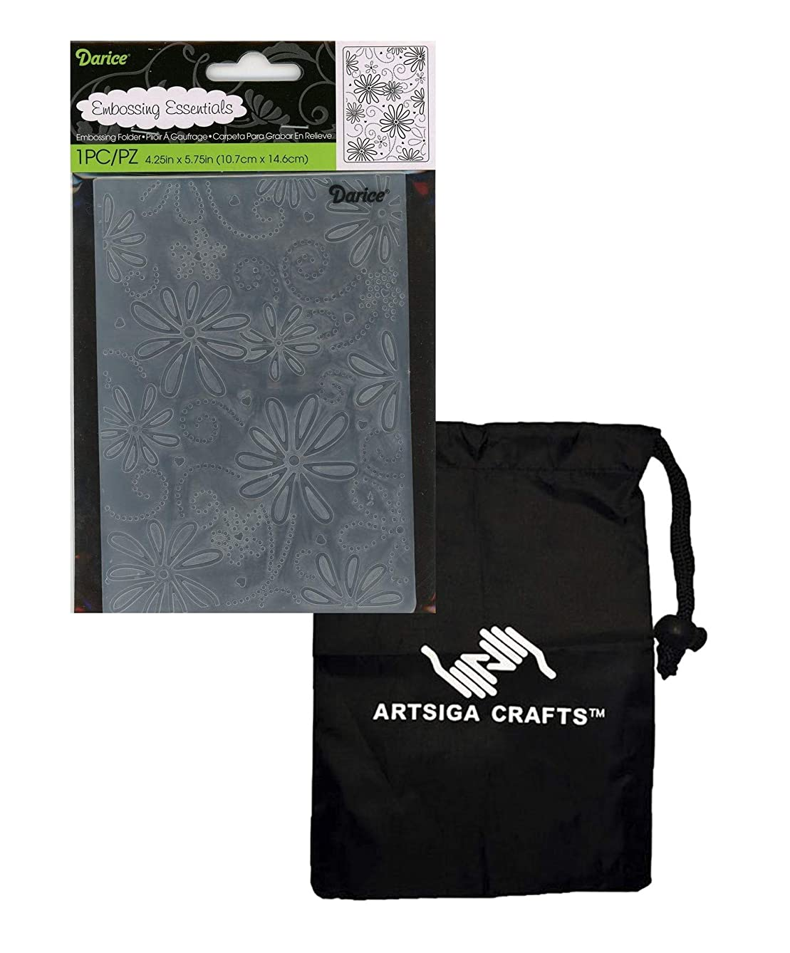 Darice Embossing Folders for Card Making Large Petal Background 4.25 x 5.75 1215-70 Bundle with 1 Artsiga Crafts Small Bag