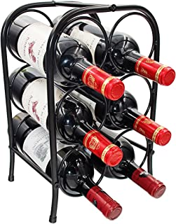 PAG 6 Bottles Free Standing Countertop Metal Wine Rack Tabletop Wine Storage Holders Stands, Black