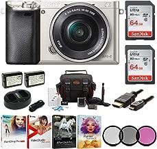 Sony Alpha a6000 Mirrorless Camera w/ 16-50mm Lens & Two 64GB SD Card Bundle (Silver)