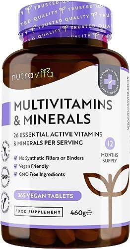 Multivitamines et Minéraux pour 12 Mois - 365 Comprimés Végan - 26 Nutriments dont Zinc, Vitamines A B C D3 E K – Com...