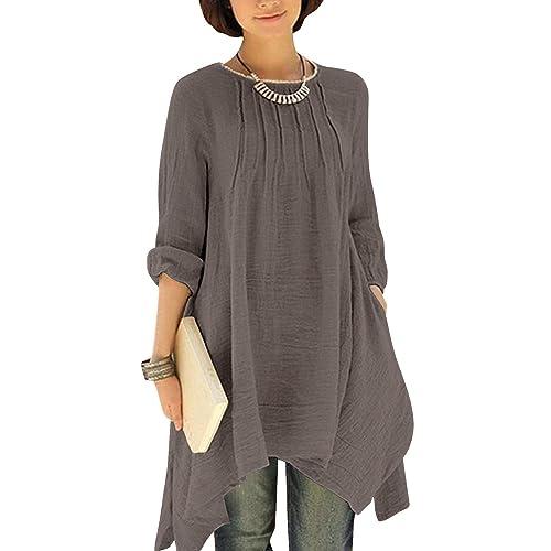 2bb244c36 Gikim Women s Plus Size Casual Long Sleeve Linen Cotton Irregular Dress  with Pockets